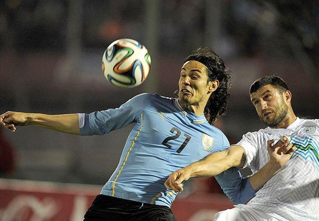 Uruguay 2-0 Slovenia: Cavani on target in final World Cup warm-up