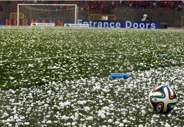 Torrential hailstorm halts Belgium - Tunisia friendly