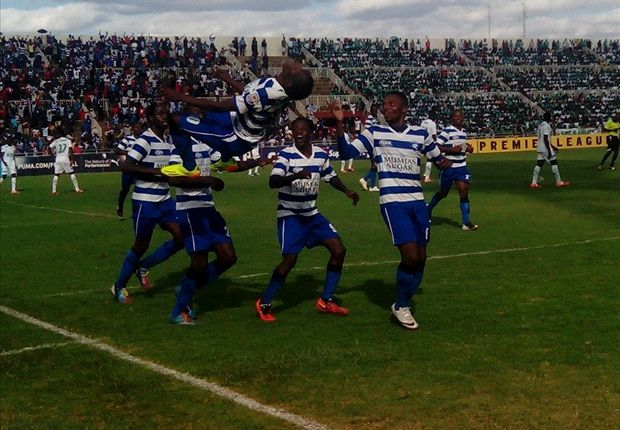 AFC Leopards striker Charles Okwemba celebrates scoring against Gor Mahia.