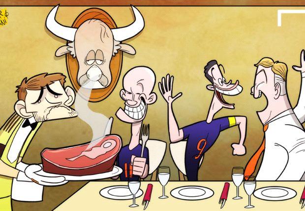 Van Persie y Robben se cuelan en la fiesta de España