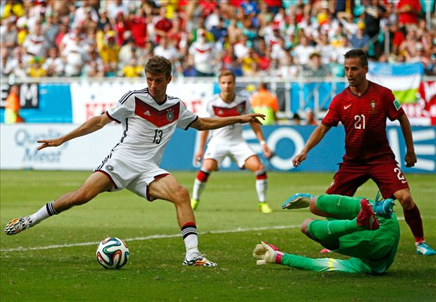 Germany 4-0 Portugal: Muller hat-trick downs 10-man Seleccao