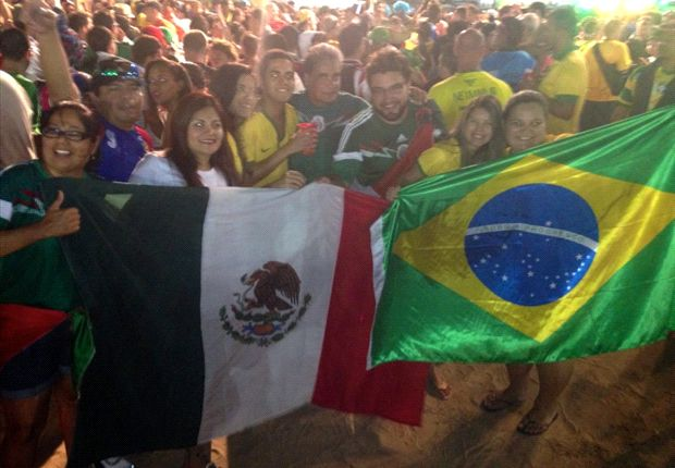 Brazil & Mexico fans embrace draw as a chance to celebrate together