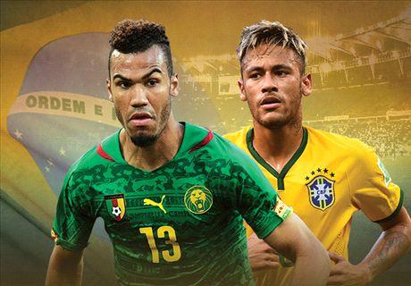 LIVE + Opstellingen: Kameroen - Brazilië