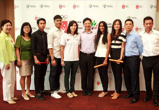 Adam (third from left) with other national athletes at the SOF-Peter Lim Scholarship presentation.