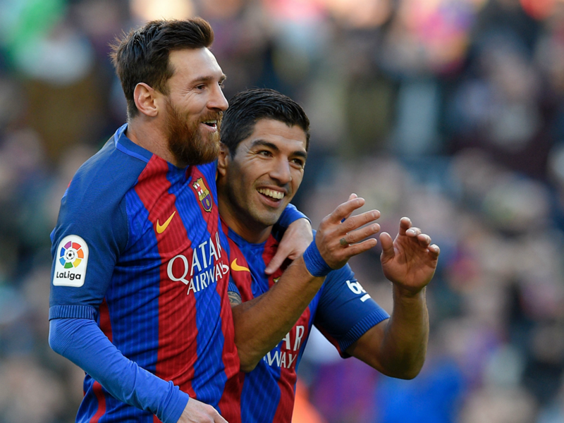 Surprise! Messi joined on honeymoon by Barcelona team-mate and close friend Suarez