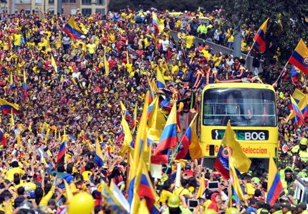 Colombiaans team als helden onthaald in hoofdstad