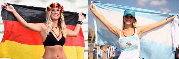 Duelo en la grada entre Alemania y Argentina