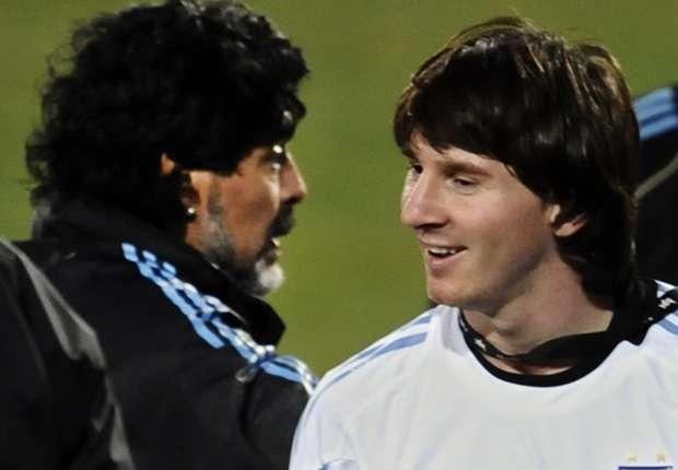 Leo Messi, en la época que era dirigido por Diego Maradona