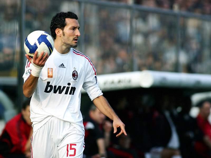 Gianluca Zambrotta Jersey Gianluca Zambrotta in Action For Milan as he Prepares For a Throw in