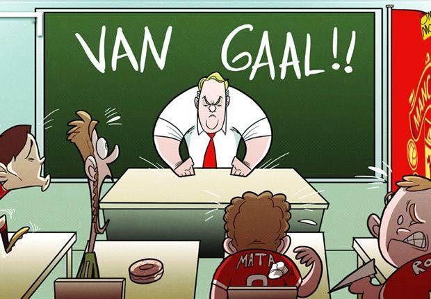 Van Gaal en su primer día en Manchester United.