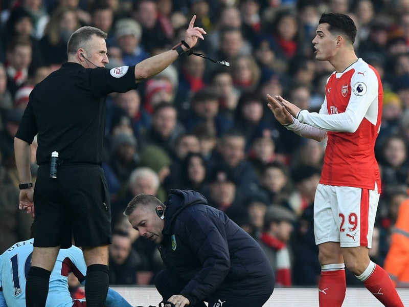 Xhaka sent off for second time in his Arsenal career after two-footed lunge
