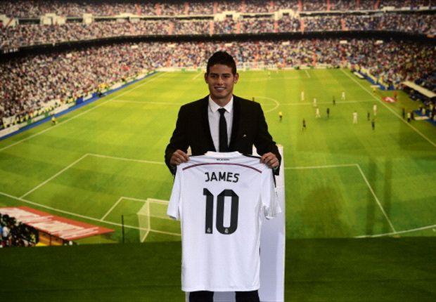 James Rodríguez, durante su presentación como nuevo jugador del Real Madrid