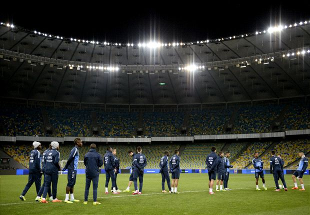 France training in Kiev's Olympic Stadium last year