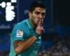 Luis Suarez celebrates against Atletico Madrid