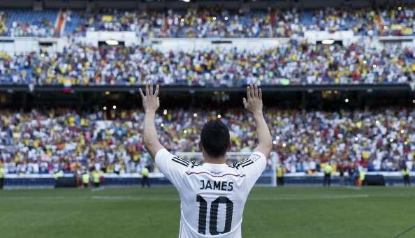 James Rodríguez, en su presentación con el Real Madrid