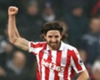 Stoke City midfielder Joe Allen celebrates scoring against Crystal Palace