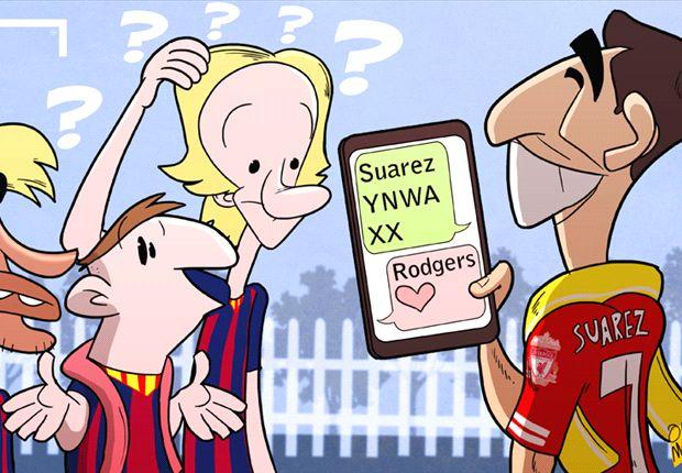 Luis Suárez, con dificultades para abandonar el Liverpool