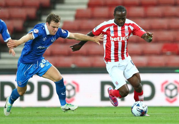 Victor Moses playing for Stoke City