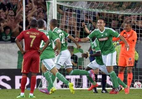 Résumé de match, Saint-Etienne-Karabukspor (1-0 a.p.t.b. 4-3)