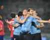Uruguay goalscorer Jose Gimenez celebrates
