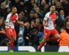 Monaco forwards Kylian Mbappe (L) and Radamel Falcao (R) celebrate a goal against Manchester City