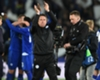 Craig Shakespeare celebrates Leicester City's win over Sevilla
