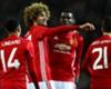 Marouane Fellaini celebrates a Manchester United goal