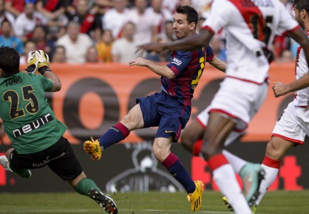 Rayo Vallecano 0-2 Barcelona: Messi and Neymar on target as Bravo sets new record
