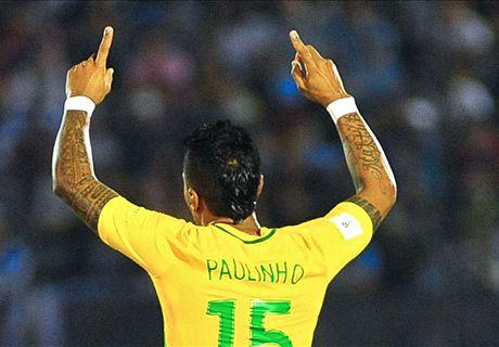Paulinho hat-trick leads Brazil