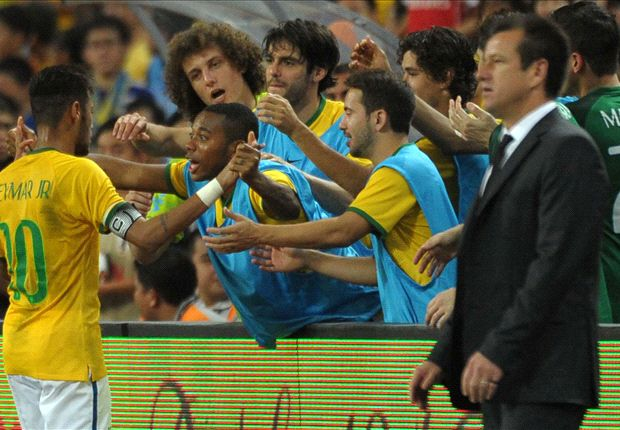 Four-goal hero Neymar stands with Brazilian legends