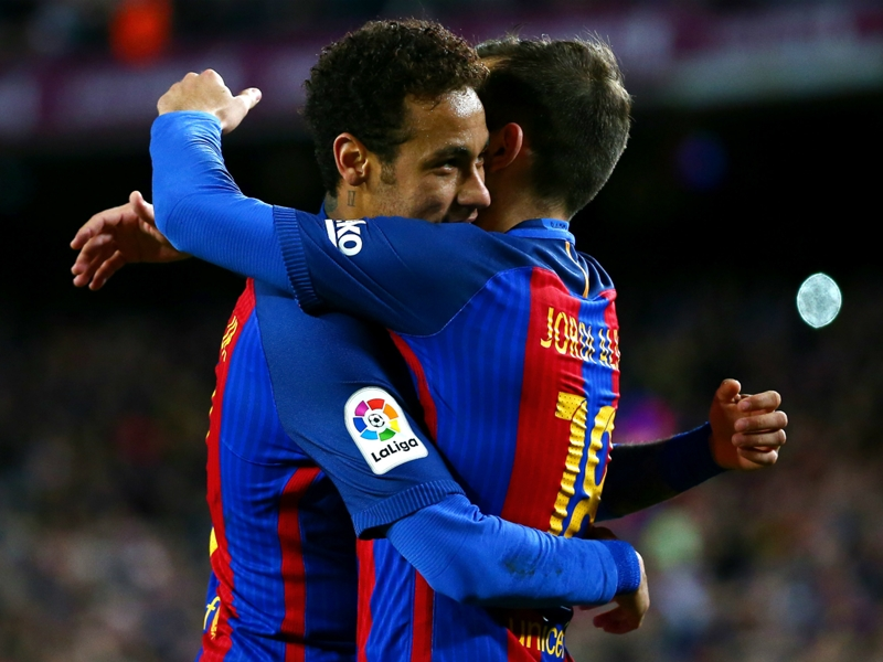 Neymar joins Messi & Suarez in Barcelona's 100 club