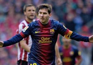 2. Ganz allein macht sich Messi im San Mames auf die Reise. Immer wieder stellen sich ihm Verteidiger in den Weg, doch er ist nicht aufzuhalten und versenkt am Ende die Kugel ohne große Mühe (27. April 2013).
