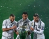 Real Madrid forwards Gareth Bale, Karim Benzema and Cristiano Ronaldo celebrate winning the Champions League.