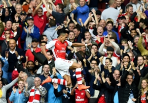 Alexis Sanchez celebrates his early goals against Hull City