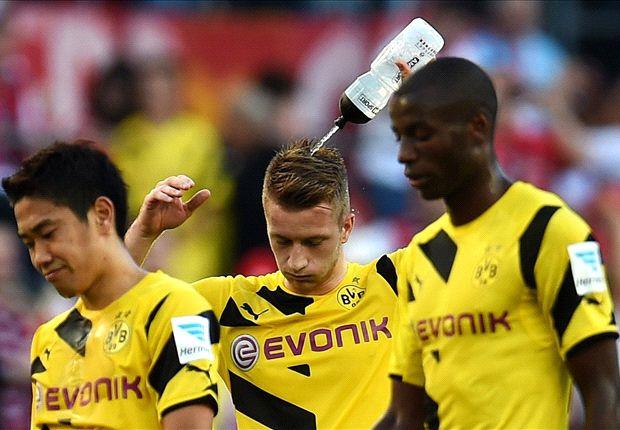 Einmal mehr die hilflosen Verlierer: Kagawa (l.), Reus (m.) und Ramos
