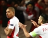 Monaco striker Kylian Mbappe celebrates with Radamel Falcao
