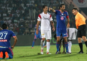 FC Goa captain and marquee player Robert Pires gestures to the referee
