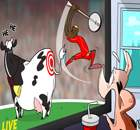 Cartoon: Balotelli fails to hit cow's backside