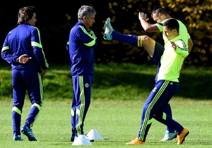 Jose Mourinho runs the rule over Eden Hazard and John Terry