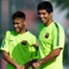 Suarez shares a joke with Neymar