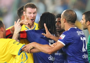 Stephen Pearson (left) of Kerala Blasters FC lets his frustration show during the match