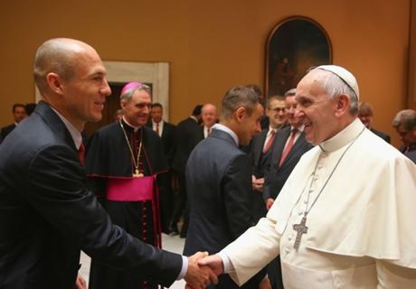 Bayern München op bezoek bij de paus