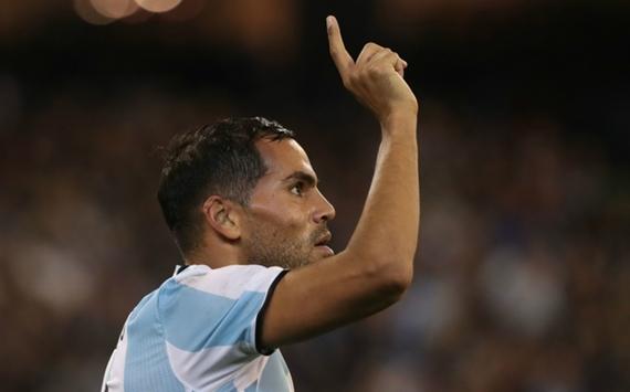 Argentina defender Gabriel Mercado celebrates after scoring the opener against Brazil