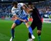 Diego Llorente battles with Luis Suarez