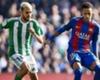 Dani Ceballos of Real Betis playing against Barcelona's Neymar
