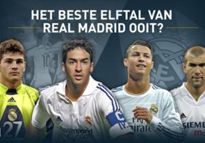 Goal Spanje vroeg haar lezers welke spelers er in het beste elftal van Real Madrid aller tijden moesten. Op elke positie konden ze kiezen uit een aantal spelers en de volgende elf hebben het gehaald.