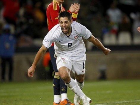 USA ace Clint Dempsey puts European Champions Spain out of the Confederations Cup with his strike in a 2-0 win in the semi-final