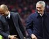 Pep Guardiola (L) with Jose Mourinho