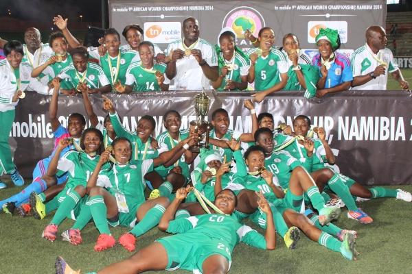 Nigeria women celebrate AWC victory