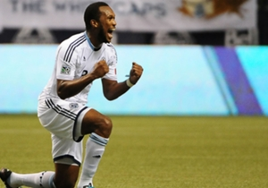 Kendall Waston celebrates his goal that helped the Whitecaps make the playoffs